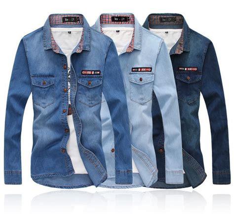 light denim shirt mens mens jeans shirt cowboy shirt top button light blue dark