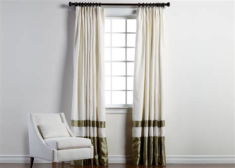 ethan allen drapes ivory sayre linen pinch pleat panel with celadon border