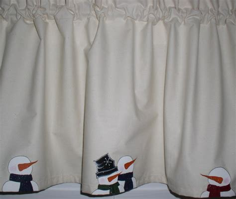 Snowman Valance painted snowmen on muslin valances tiers runners