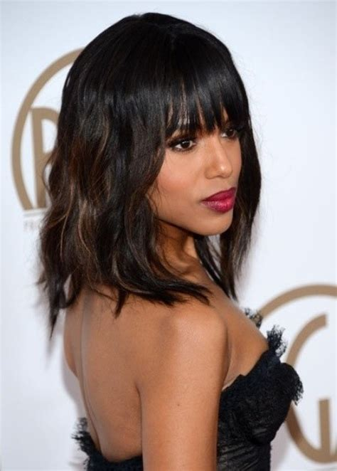 midi length with blunt fringe 12 coolest black hairstyles with bangs pretty designs