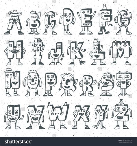 how to draw doodle lettering abc alphabet characters wacky doodle stock vector