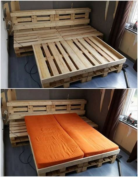 Shipping Pallet Bed Frame 134 Best Pallet Beds Images On Wood Pallet Furniture Beds And Paint Colours