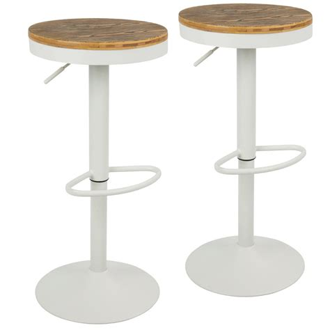 Dakota Adjustable Height Swivel Stool by Lumisource Dakota Adjustable Height White Bar Stool With