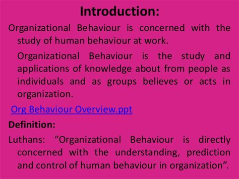 Organisational Behaviour Mba Study Material by Organisational Behaviour Development 1