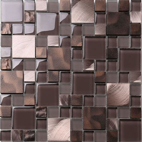 brown bronze metal glass mix kitchen backsplash tile