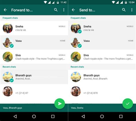 whatsapp for android whatsapp for android beta gets or forward to recipients frequent chats