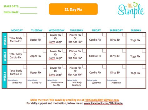 21 Day Fix Calendar 21 Day Fix Calendar Weekly Calendar Template