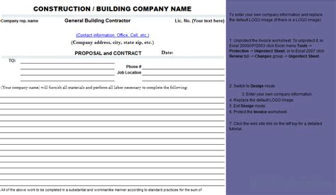 best photos of contractors proposal template free