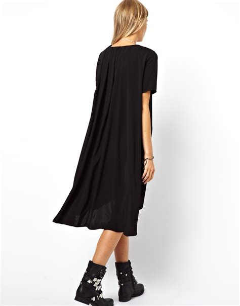 swing dress asos asos swing dress with dipped hem and pleated back in black