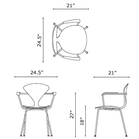 Armchair Measurements by Norman Cherner Armchair Chrome Base And Arms With