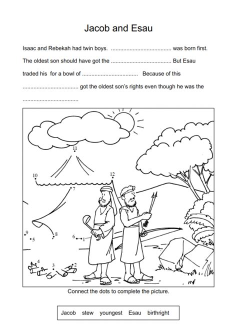 sunday school coloring pages jacob and esau 9 jacob esau worksheets and coloring pages history