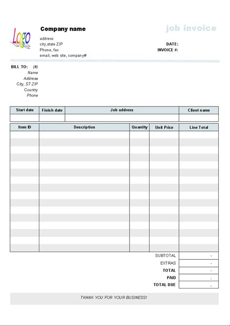 downloadable invoice templates free invoice template 10 results found