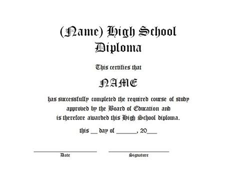 High School Diploma Free Template High School Diploma Resume Templatehigh Template High School Diploma Template Microsoft Word