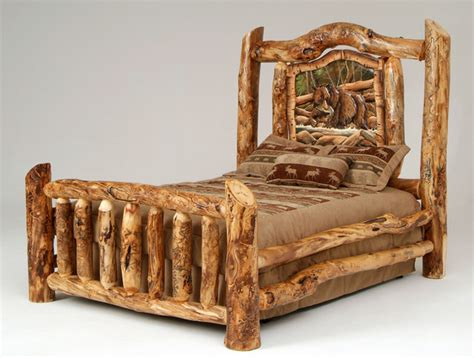 Log King Bed Frame Rustic Log Bed Rustic Beds Other Metro By Woodland Creek Furniture