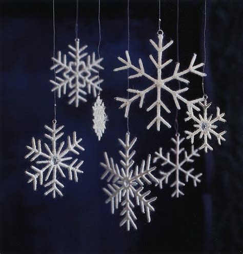 white snowflake christmas tree ornaments set of 7 nova68