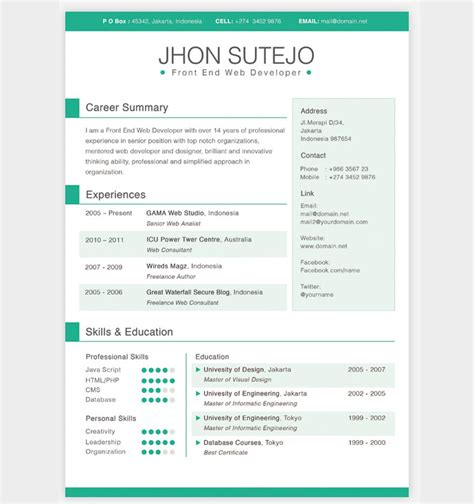 resume template design 28 free cv resume templates html psd indesign web