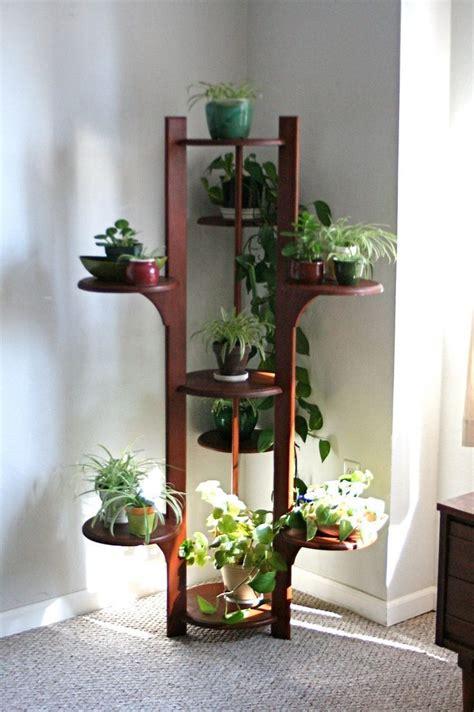 amazing  foot mid century modern teak wood plant shelf