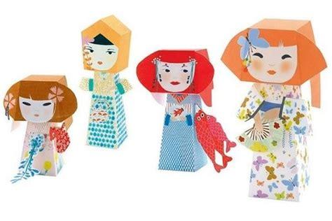 Paper Folding Toys - kokeshis folding paper toys neatorama