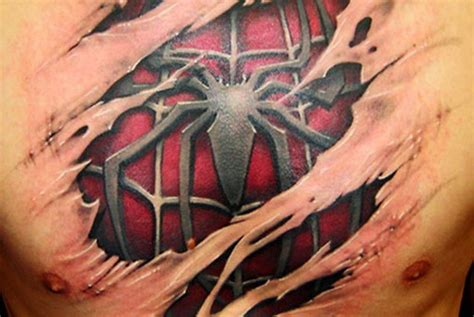 spiderman chest tattoo chest busbones