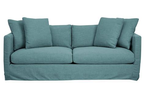blue slipcover sofa blue crypton dolly slipcover sofa everything turquoise