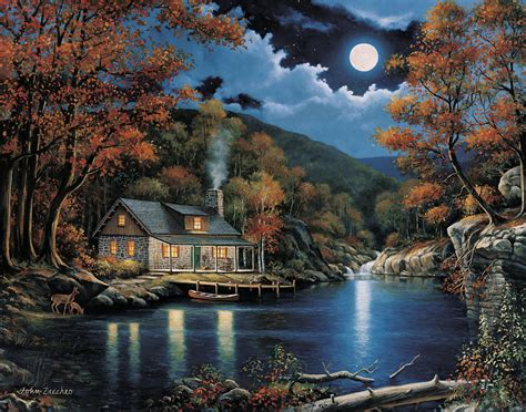 Best Home Decor Blogs Canada by Cabin By The Lake Painting By John Zaccheo