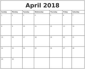 2018 Monthly Calendar Printable April 2018 Printable Monthly Calendar