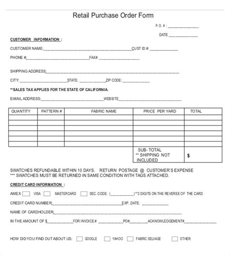 card order form template purchase order templates 17 free sle exle