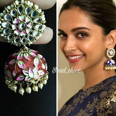 deepika padukone earrings deepika fame meenakari jhumka with kundan stone and