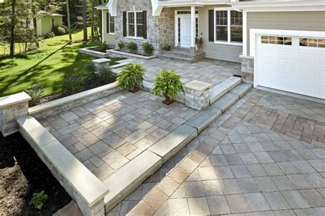 Front Patio Pavers Custom Paver Front Walkway And Driveway Traditional