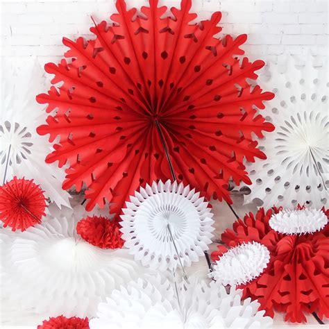 Snowflake Paper Fan 10 set of 12 snowflake paper fan rosette tissue pinwheels paper fan hanging paper flowers