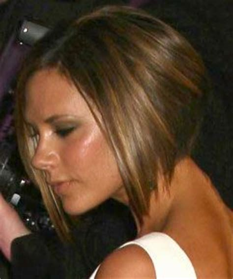 chocolate hair color with highlights for angled bobs victoria beckham with angled bob haircut in brown with