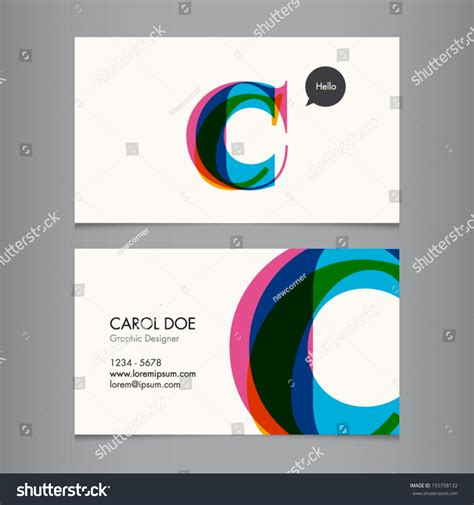 c business card template business card template letter c stock vector 155798132