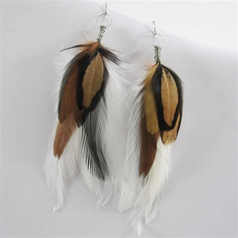 brown and feather earrings mimi boutique