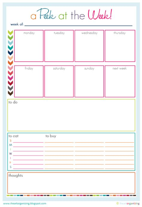 9 best images of cute printable weekly planners 2015 iheart organizing freebie time a peek at the week