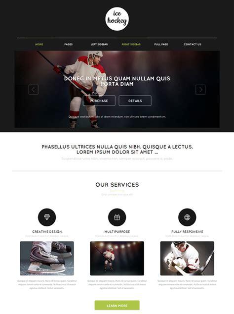 Ice Hockey Website Template Ice Hockey Sports Dreamtemplate Hockey Website Template