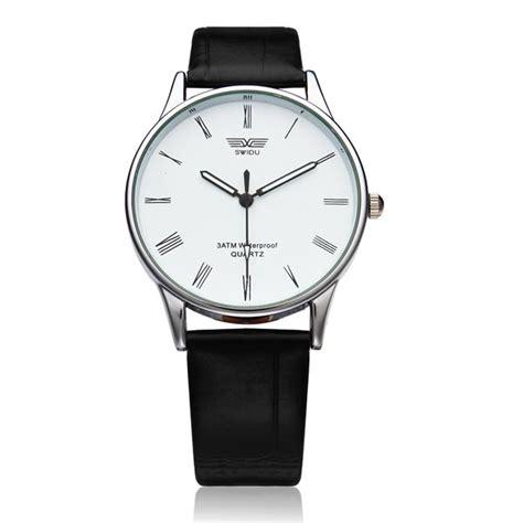 Mens Fashion Quartz Watches White fashion black white leather quartz wrist