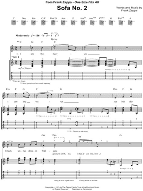 frank zappa sofa no 2 digital sheet music at musicnotes