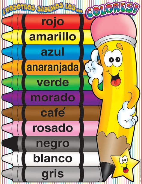 color in spanish colors spanish charts school ambientaci 243 n del sal 243 n