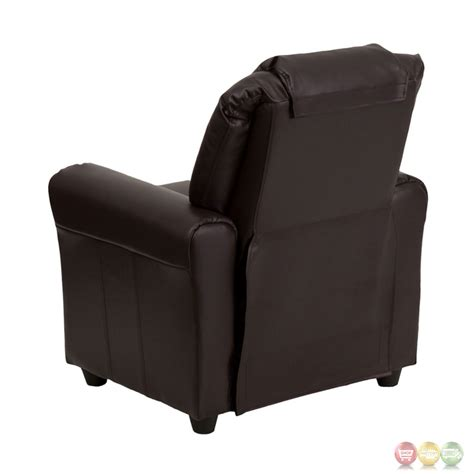 brown leather recliner with cup holder contemporary brown leather kids recliner with cup holder