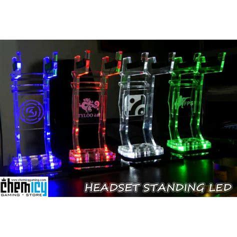 Lu Led Warna Hijau akrilik headset stand with led