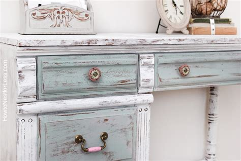 distressing chalk painted furniture distressed chalk paint desk makeover how to nest for less