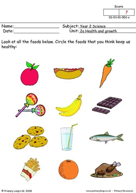 Healthy Snacks Worksheet healthy foods 1 primaryleap co uk