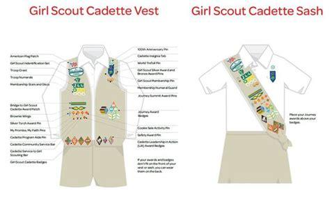 scout junior sash diagram scout cadette vest sash insignia placement