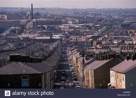buy the house accrington rooftops and chimney pots looking towards accrington town cotton stock photo royalty