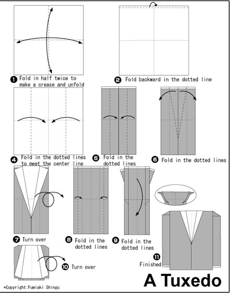 How To Make Clothes From Paper - origami tuxedo jacket origami pliage