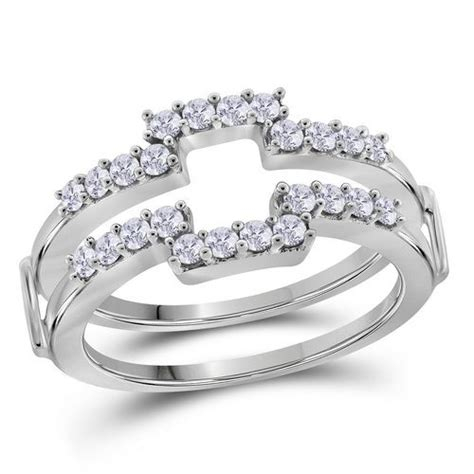 14kt white gold 1 2ctw ring guard wrap