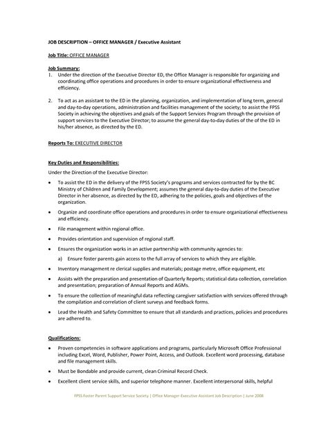 Office Executive Assistant Key Duties and responsibilities