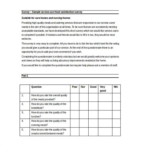 free questionnaire template a free survey