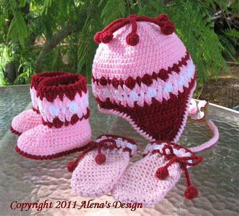 Catell Mittens And Booties Set items similar to crochet pattern set cherries hat baby