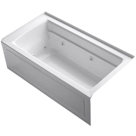 kohler bathtubs home depot kohler archer 5 ft whirlpool tub in white k 1122 la 0
